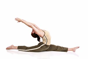 Woman in pilates stretch