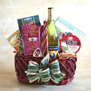 Gift basket with food and wine