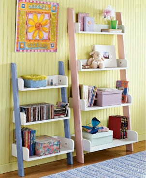 Kid's bedroom with lots of shelving