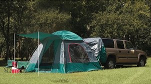 Setting up camp with a Coleman tent