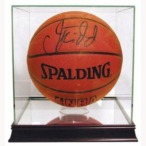Signed basketball in a plexiglass case