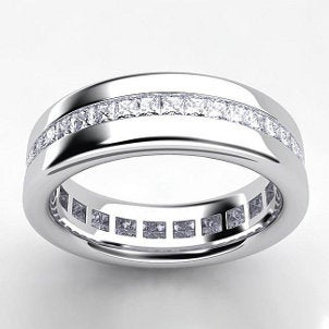 A gorgeous platinum wedding band ring with channel-set diamonds