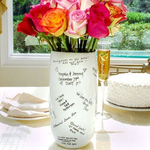 Keepsake wedding vase features guest signatures
