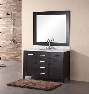 Single sink dark wooden bathroom vanitiy with 4 drawers
