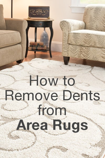 How to Remove Dents from Area Rugs from Overstock.com. Dents from furniture legs are a minor nuisance that can easily be fixed, so with a little work, your rugs can look brand new.