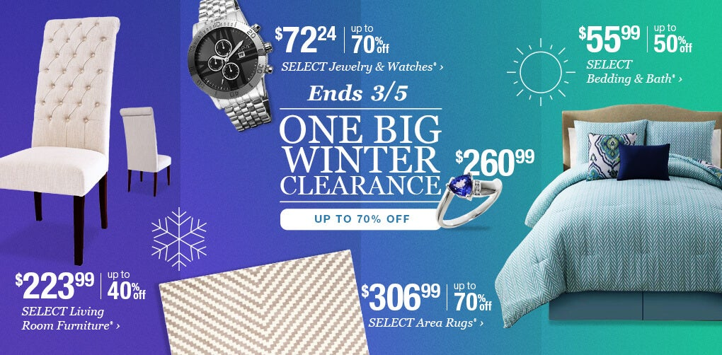 Ends 3/5. One Big Winter Clearance. Up to 70% Off.