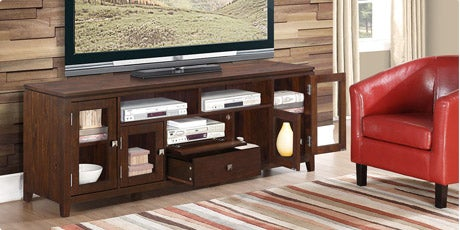 WYNDENHALL Essex 72-inch Wide Coffee Brown TV Media Stand