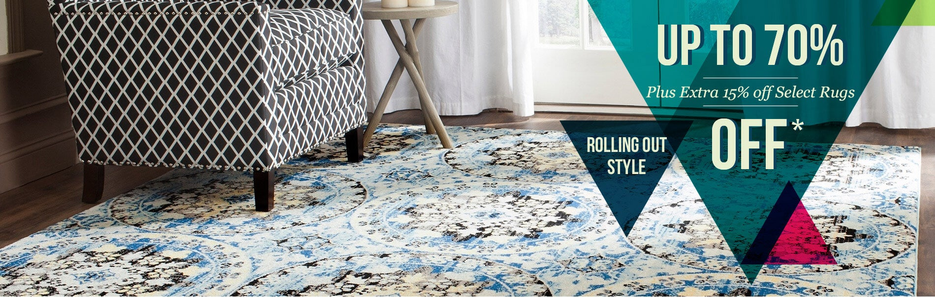 Up to 70% off + Extra 15% Off Select Rugs