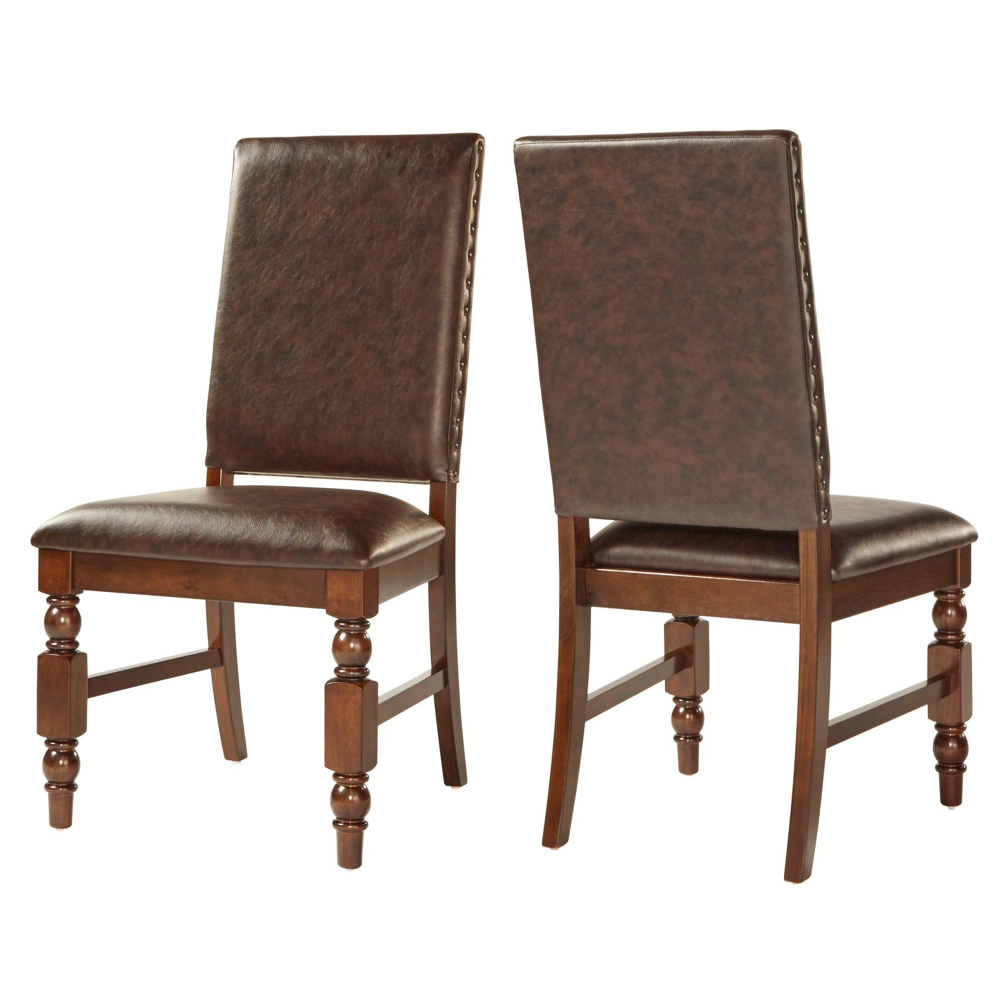 Inspire Q Andorra Velvet And Faux Alligator Leather Dining: Flatiron Nailhead Upholstered Dining Chairs (Set Of 2) By