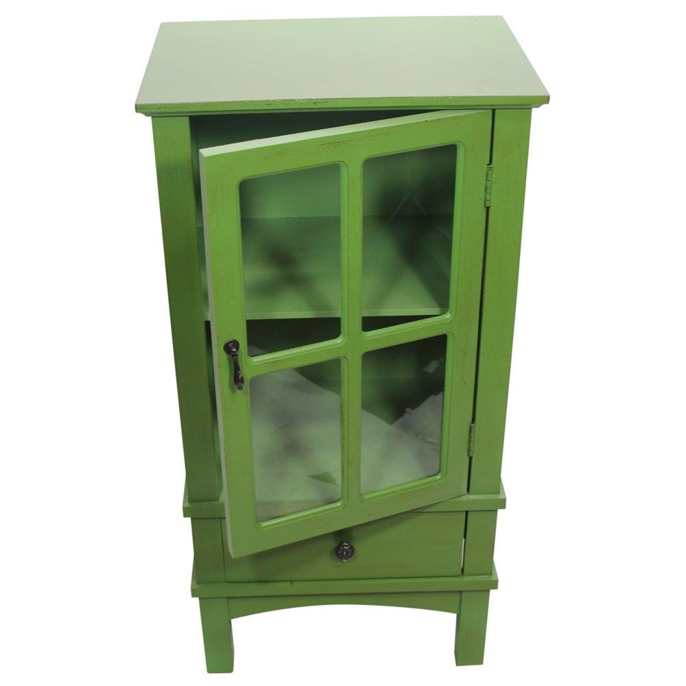 Heather Ann Single Glass Door Single Drawer Accent Cabinet Ebay