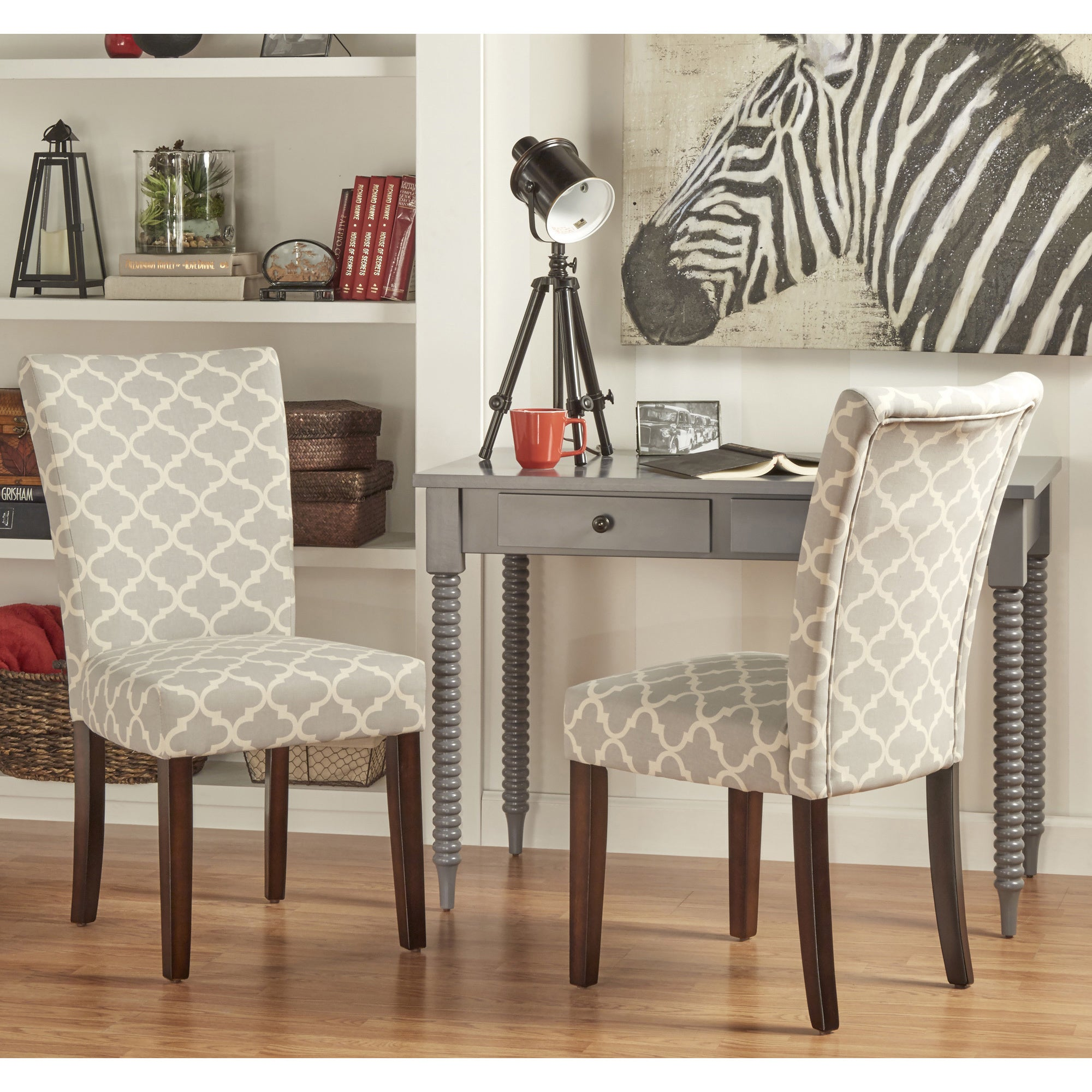 catherine moroccan pattern fabric parsons dining chair set - Parsons Dining Chairs