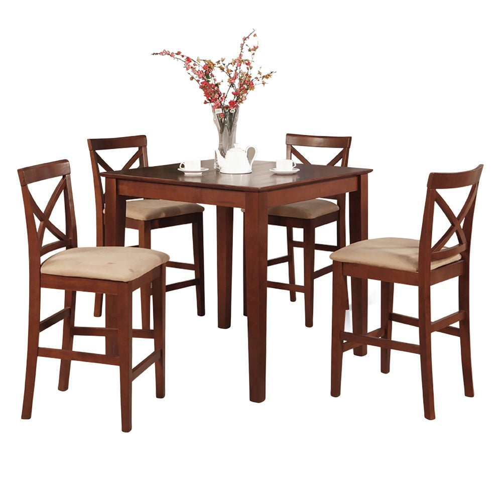 Of Set Chairs 4 Brownfoldingdining: Dark Brown Gathering Table And 4 Counter Height Chairs 5