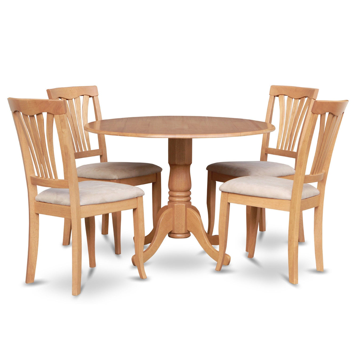 5pc Set Round Dinette Kitchen Table W 4 Microfiber: Oak Round Kitchen Table And 4 Kitchen Chairs 5-piece