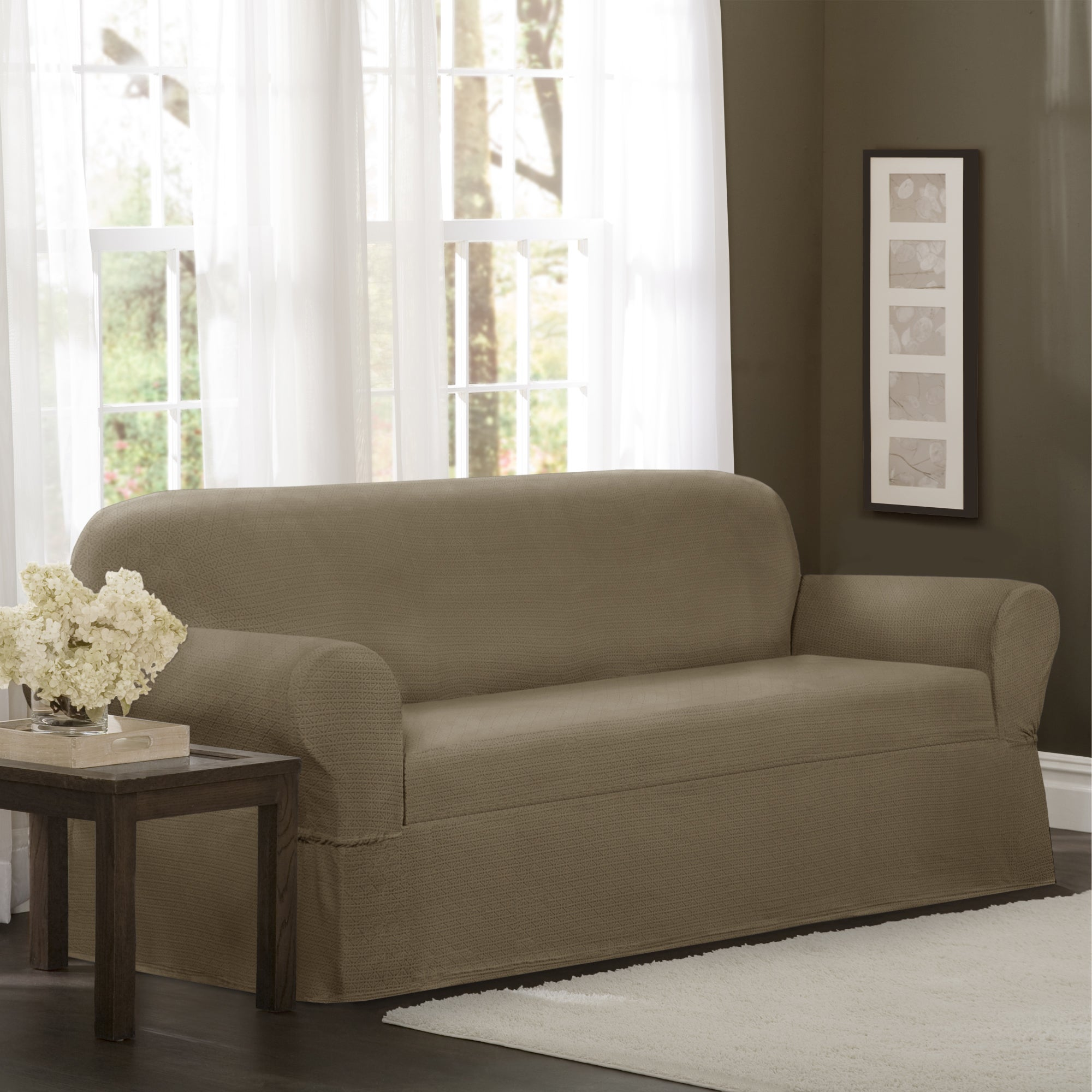 maytex torie 1 piece stretch sofa slipcover ebay. Black Bedroom Furniture Sets. Home Design Ideas