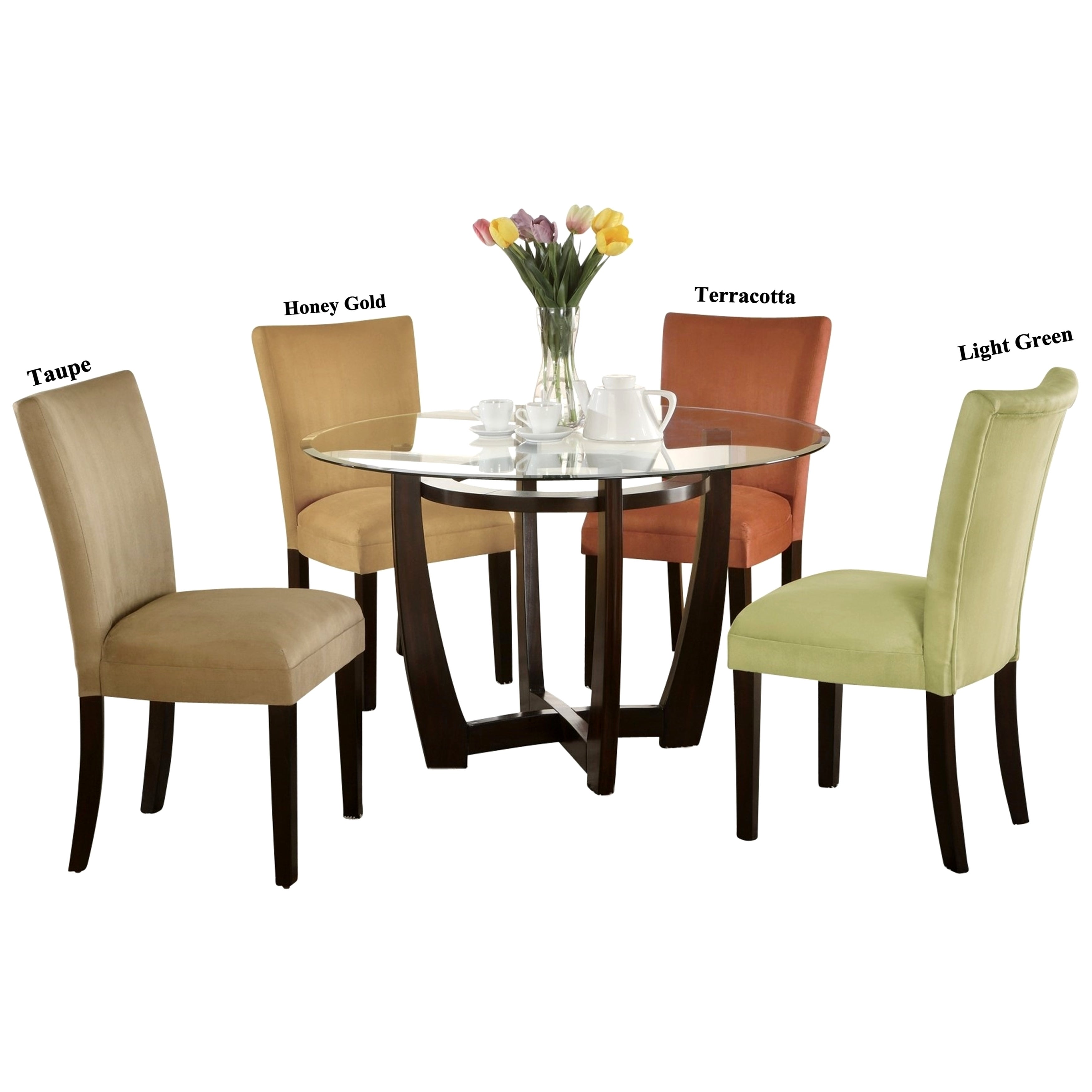 5 Piece Round Dining Set: Mirage Round Glass Top Table / Microfiber Parson Chairs 5