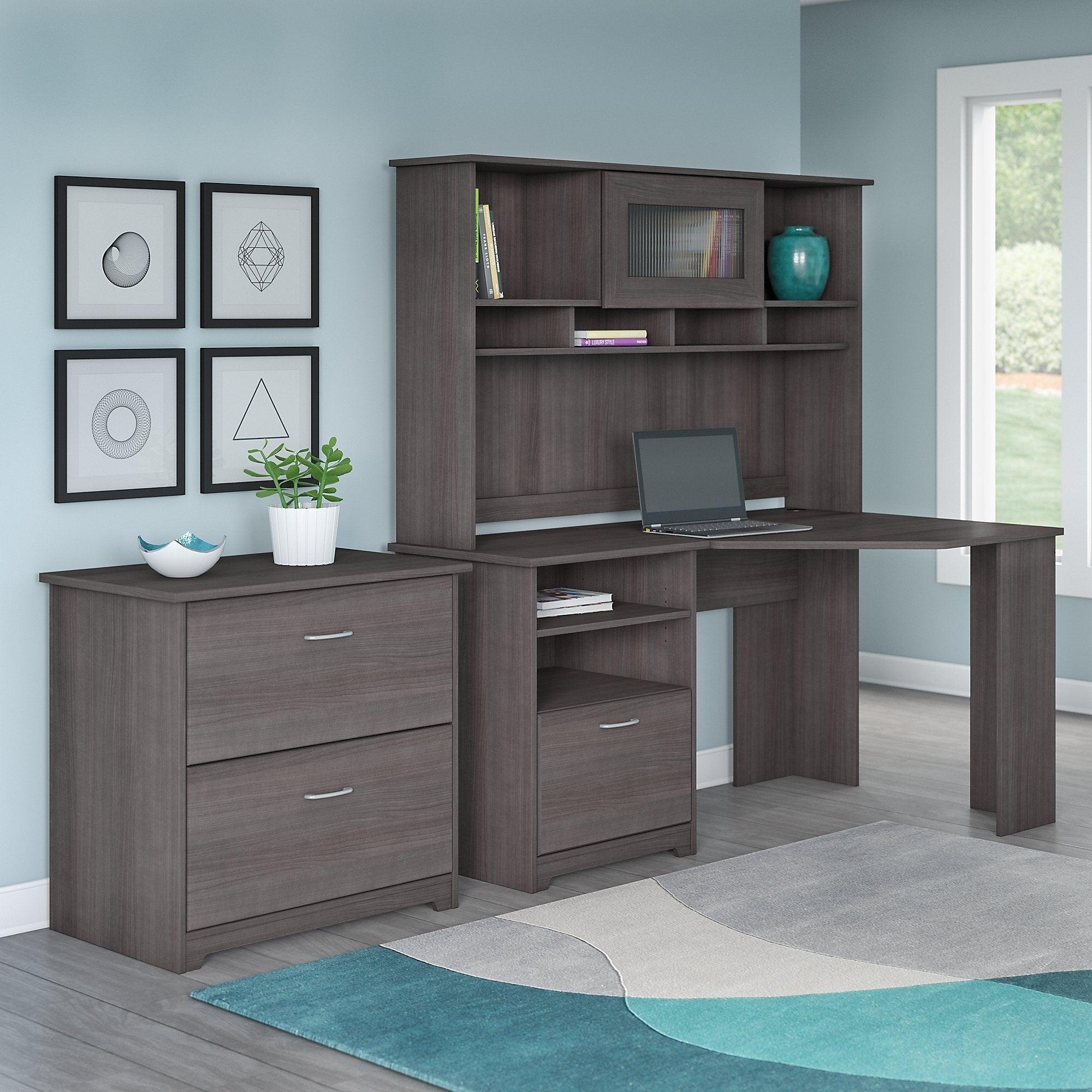 bush cabot corner desk with hutch and 2 drawer file cabinet in heather gray ebay. Black Bedroom Furniture Sets. Home Design Ideas
