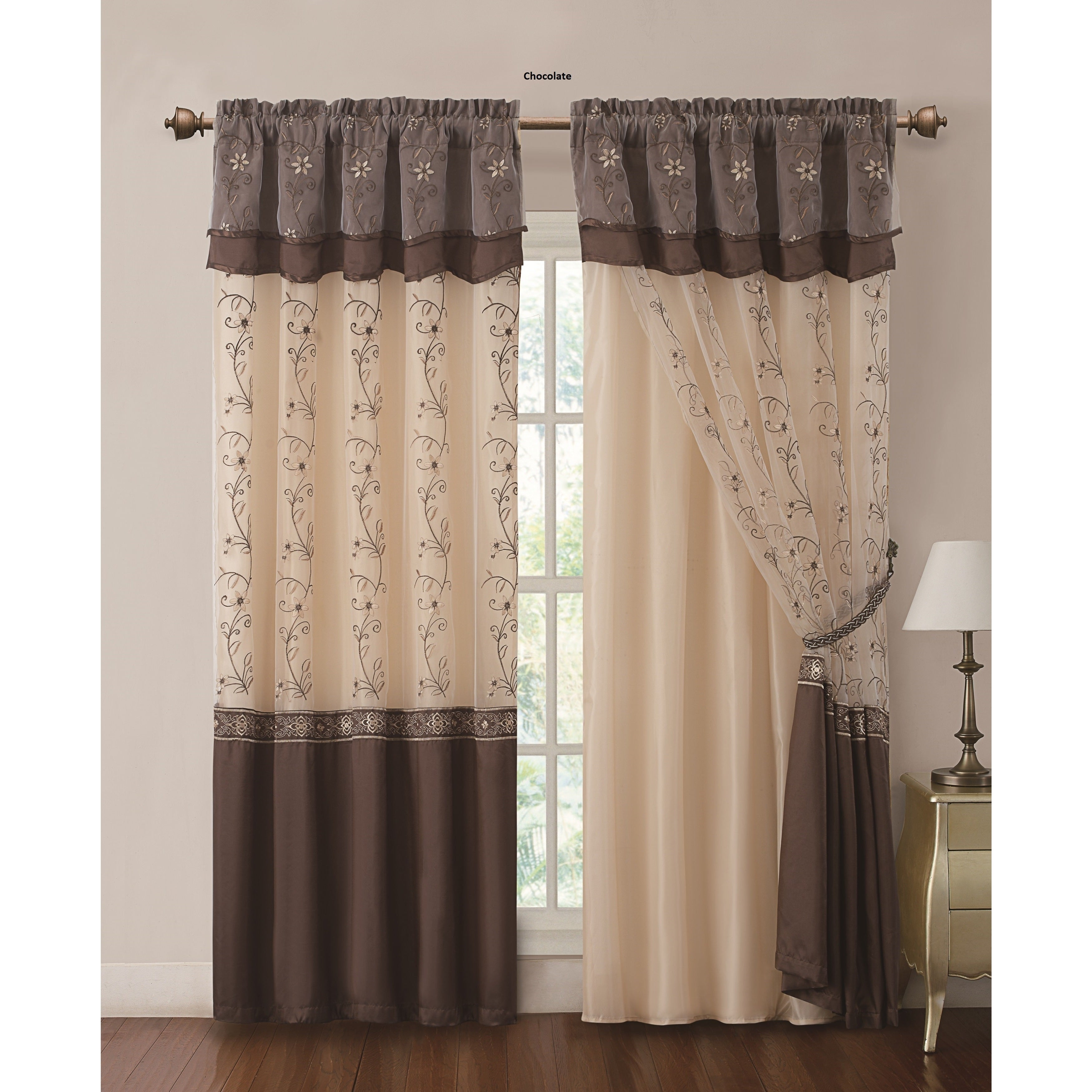 Daphne Embroidered Rod Pocket Panel With Attached Valance