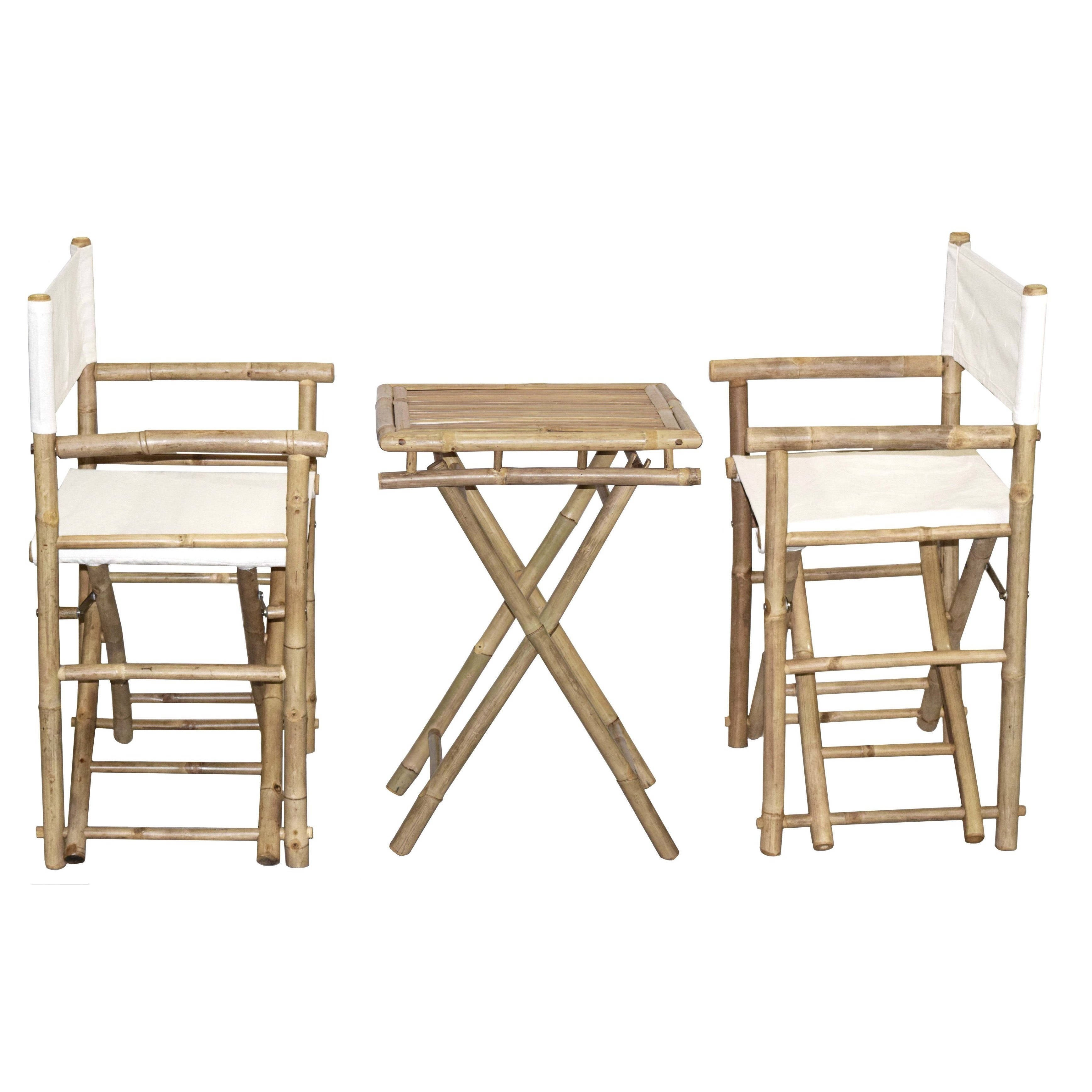 Handmade Bamboo Bistro Director\'s Chairs and Small Table Set ...