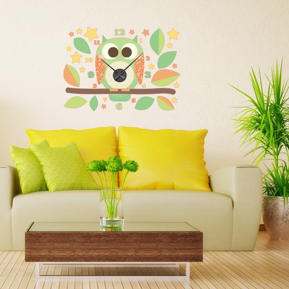 Owl Wall Clock Vinyl Decor Wall Art | eBay