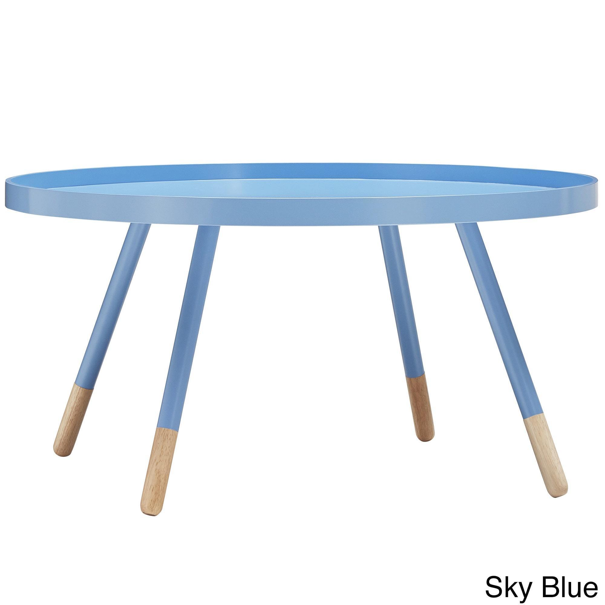 Coffee Table With Tray Top: Marcella Paint-dipped Round Spindle Tray Top Coffee Table