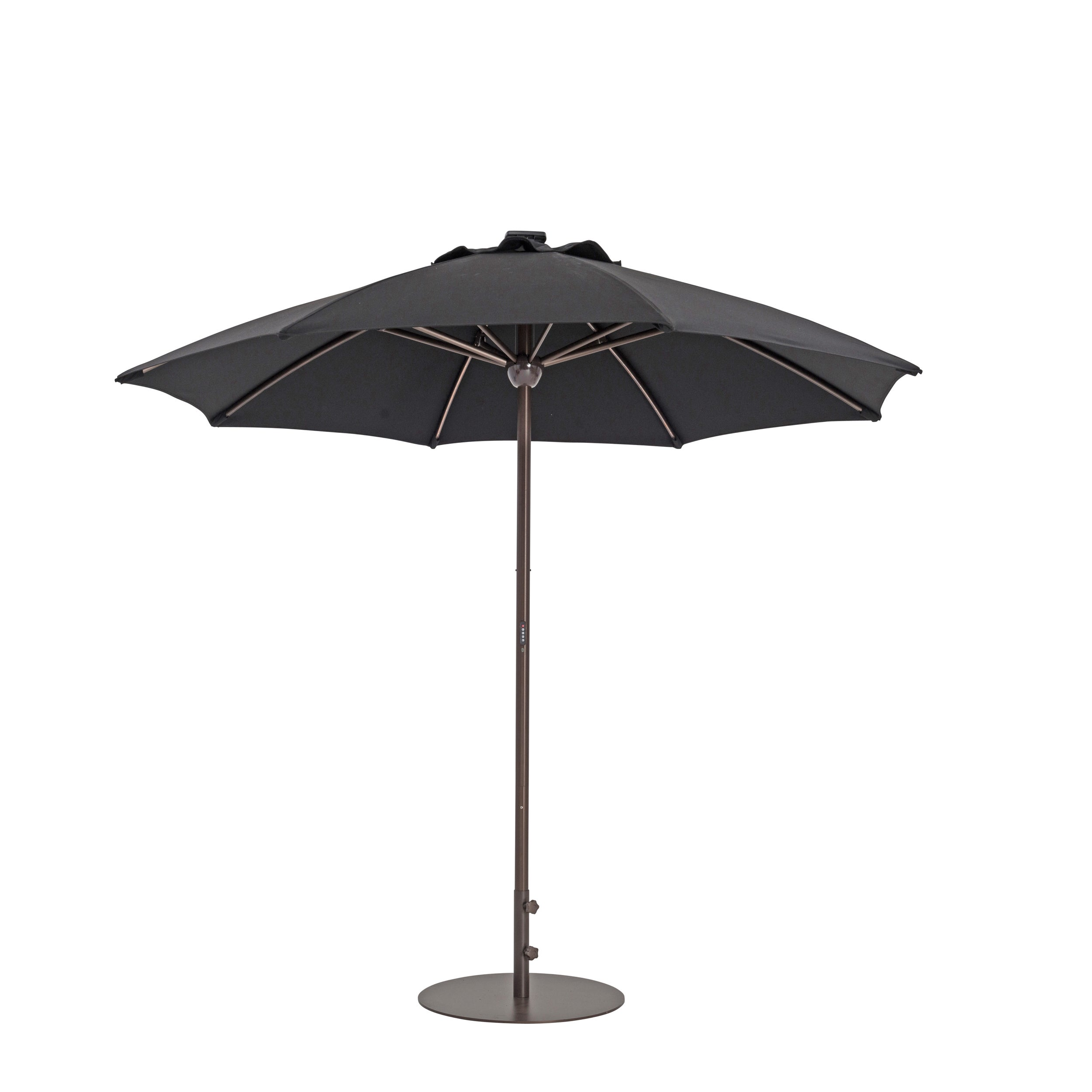 Picture 6 of 10  sc 1 st  eBay & 9 Ft. Automatic Market Patio Umbrella With Lights in Black   eBay