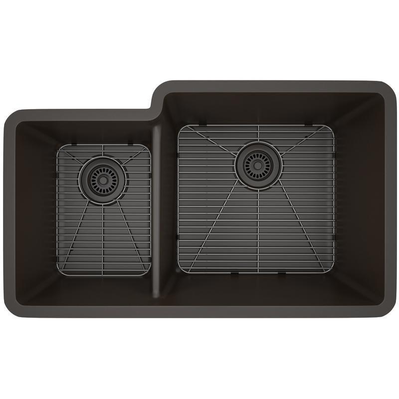 Lexicon Platinum Offset Double Bowl Quartz Composite Kitchen Sink | eBay