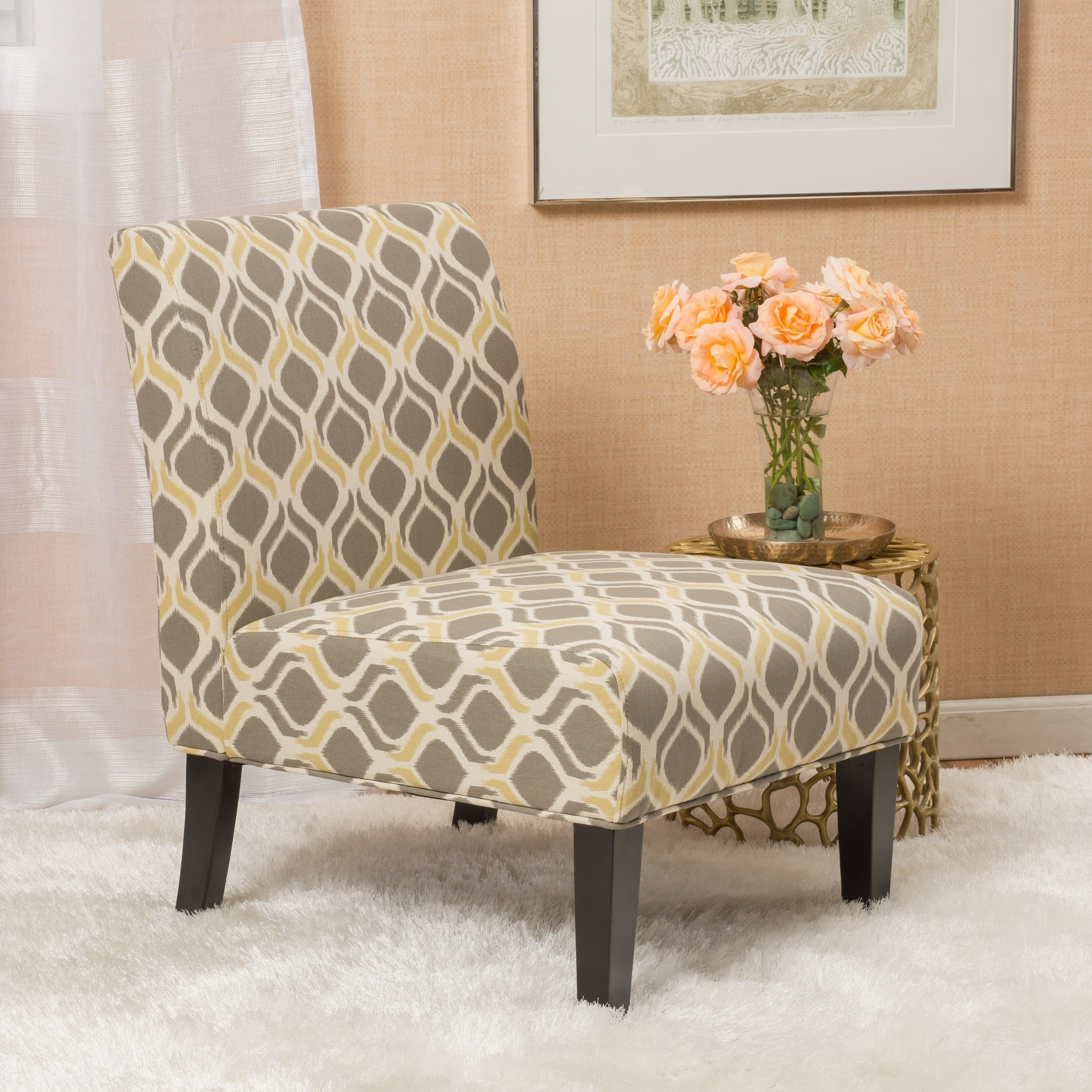 Genial Saloon Fabric Print Accent Chair By Christopher Knight