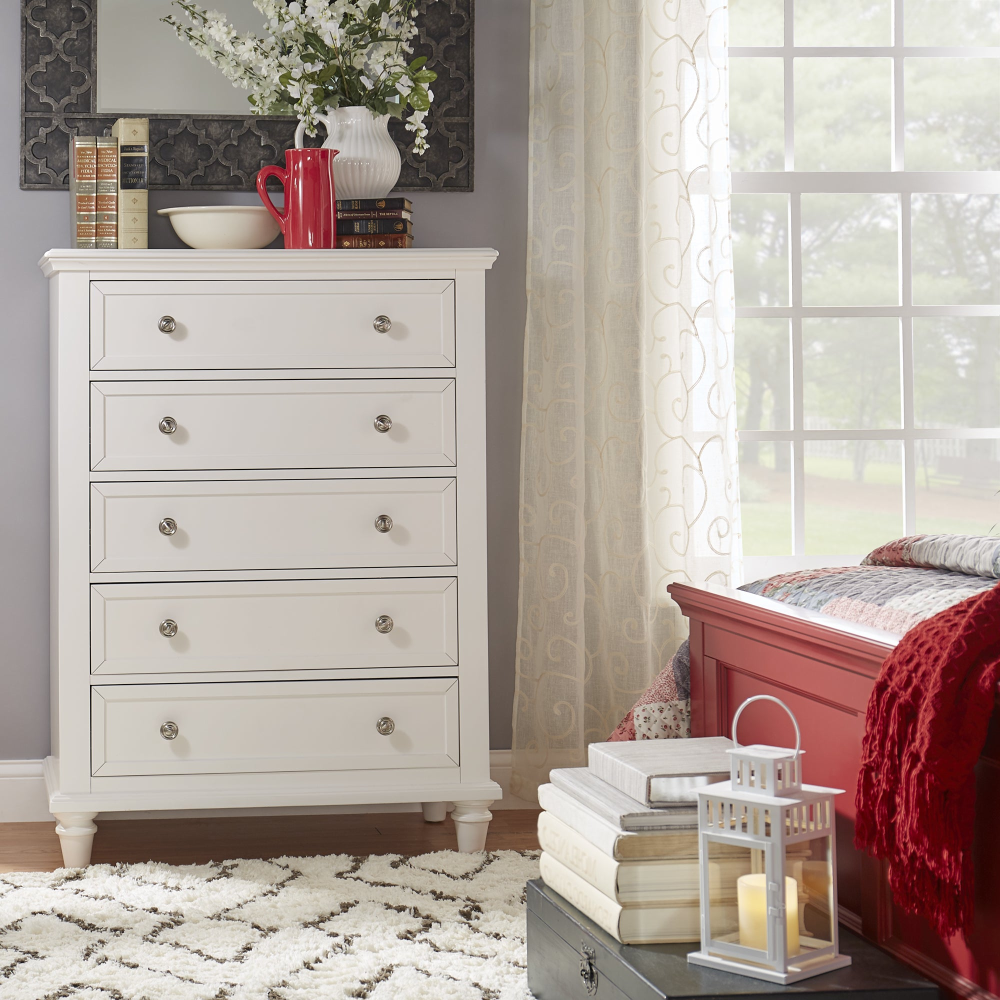 preston tall 5 drawer chest by inspire q junior ebay. Black Bedroom Furniture Sets. Home Design Ideas