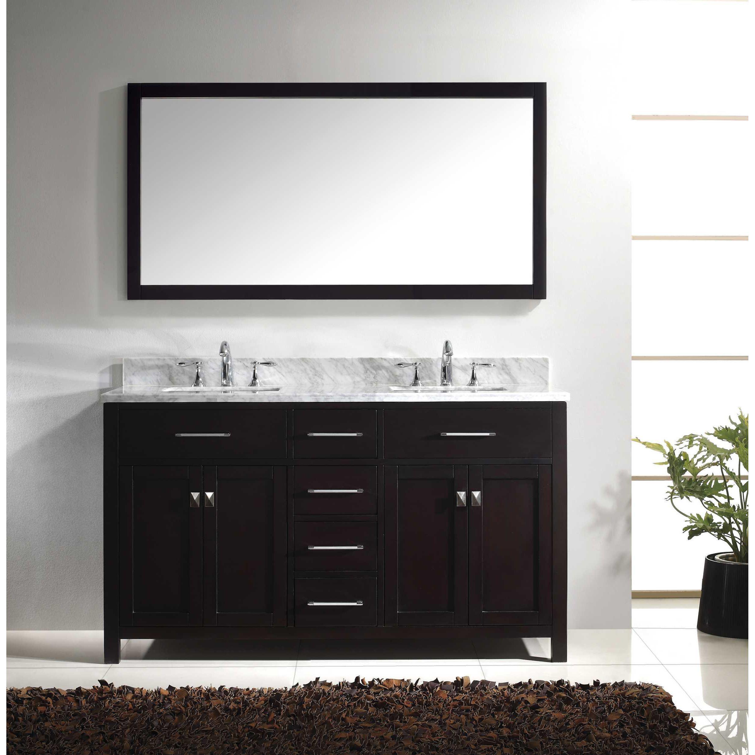 Virtu USA Caroline 60-inch Carrara White Marble Double Bathroom ...