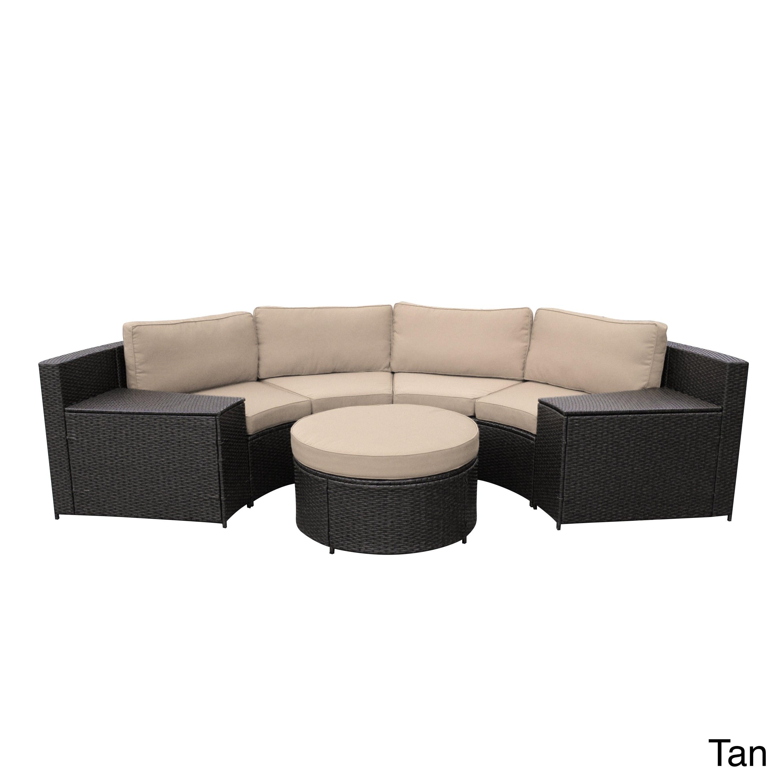 Curved Rattan Garden Sofa: Cartagena W00502 Wicker Curved Modular Sofa With Cushions