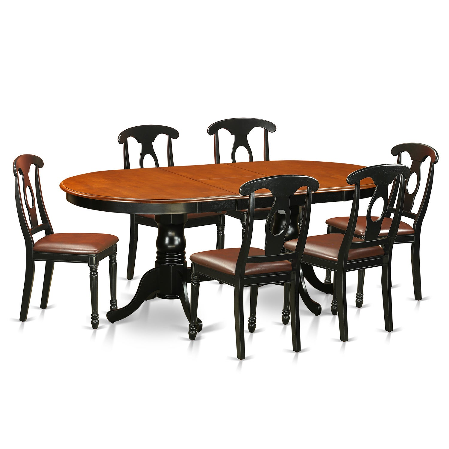 plke7 bch rubberwood dining table with 6 chairs faux leather ebay