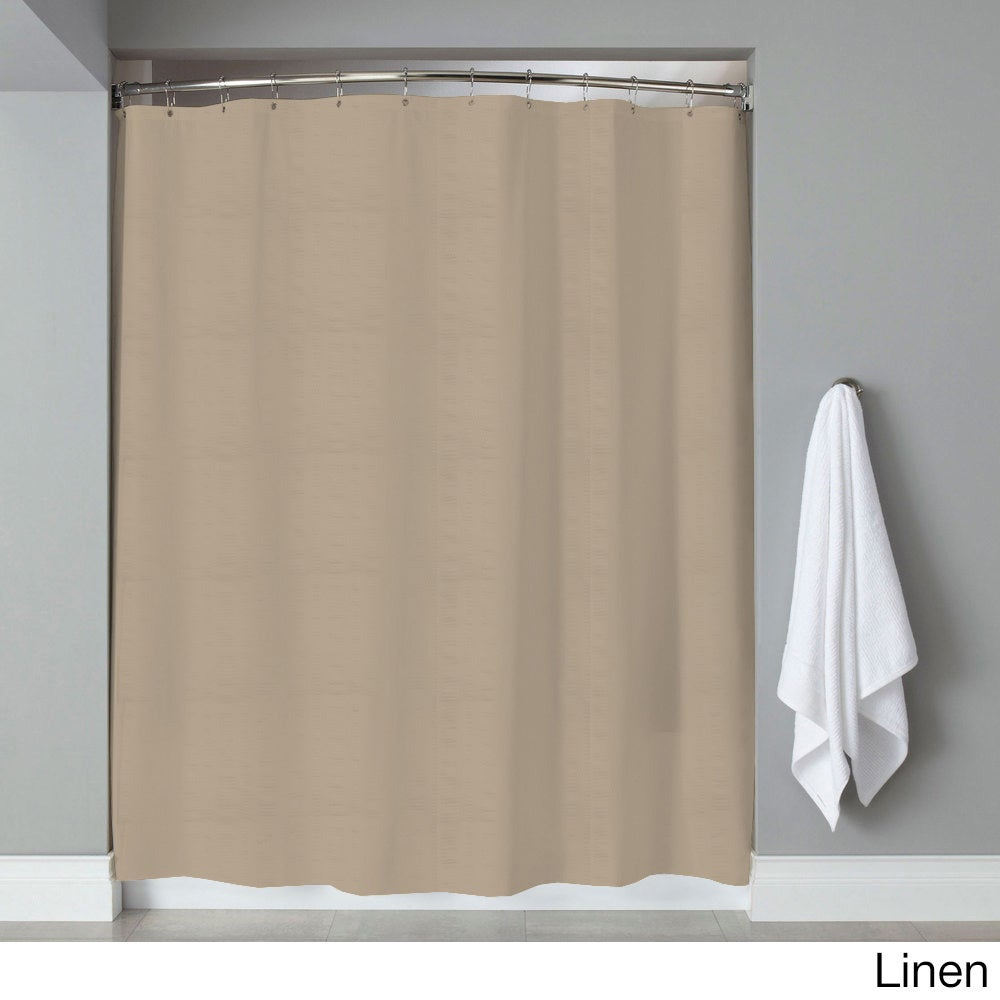 Hotel Quality Embossed Stripe Fabric Shower Curtain/Liner (70 x 72 ...