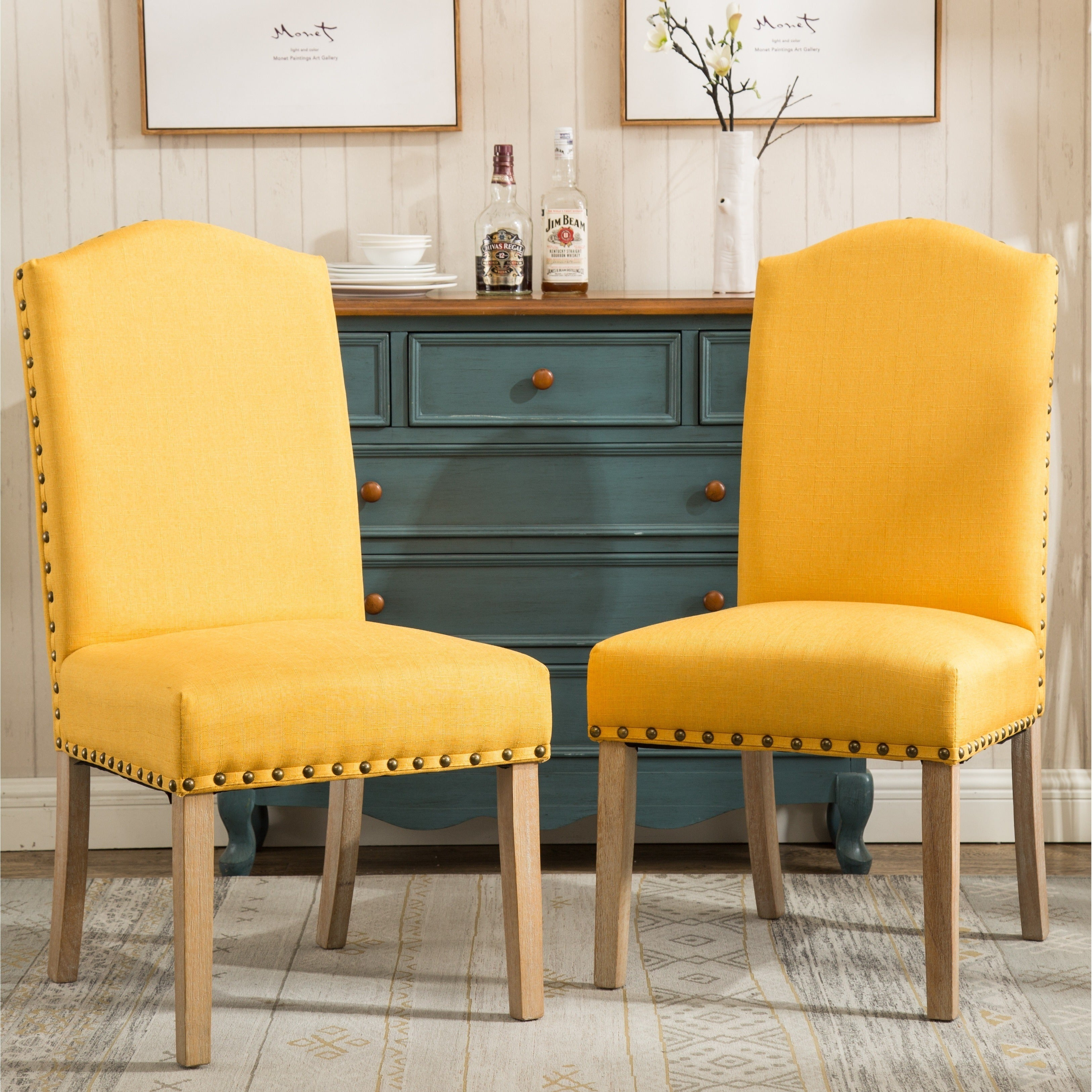 Mod Urban Solid Wood Upholstered Parson Chairs Set