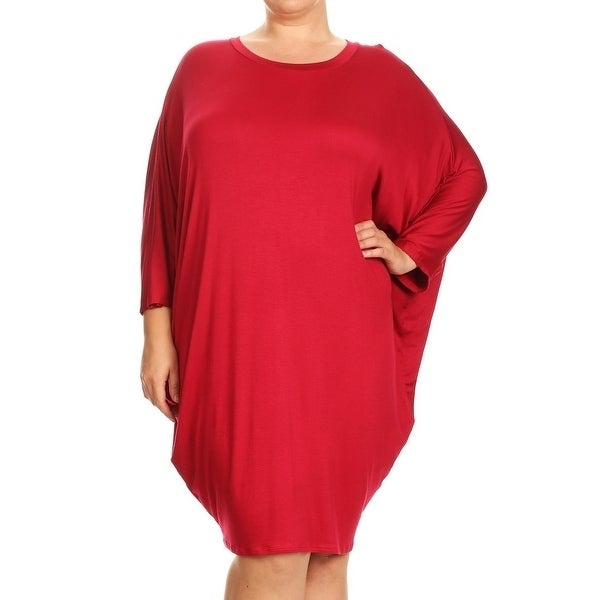 Plus Size Womens Solid Colored Rayonspandex Dress Ebay