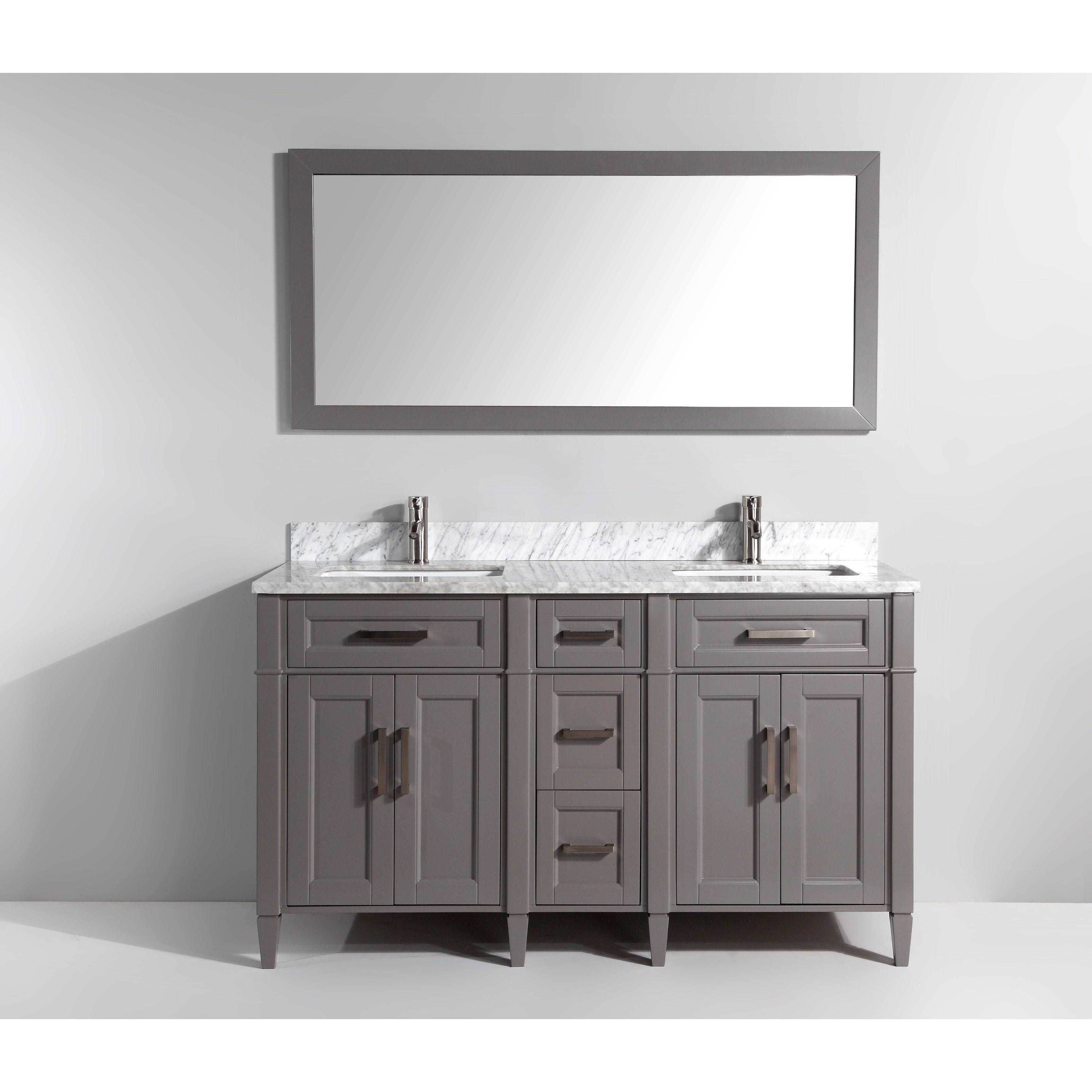Details About Vanity Art 60 Inch Double Sink Bathroom Vanity Set With  Carrara Marble Top Rh Ebay Com 60 Inch White Double Bathroom Vanity 60 Inch  Double ...