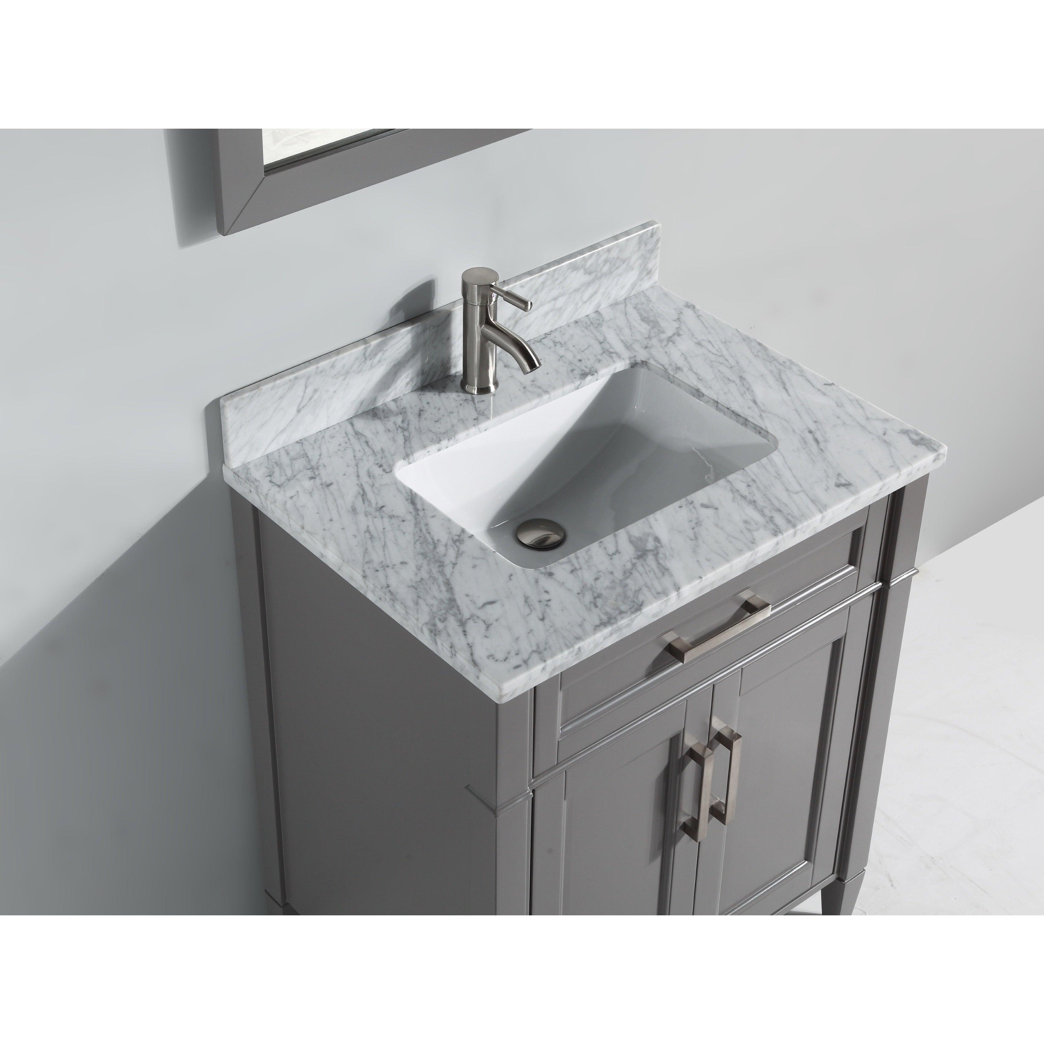 Carrara Marble Bathroom Sink: Vanity Art 30-inch Single Sink Bathroom Vanity Set With