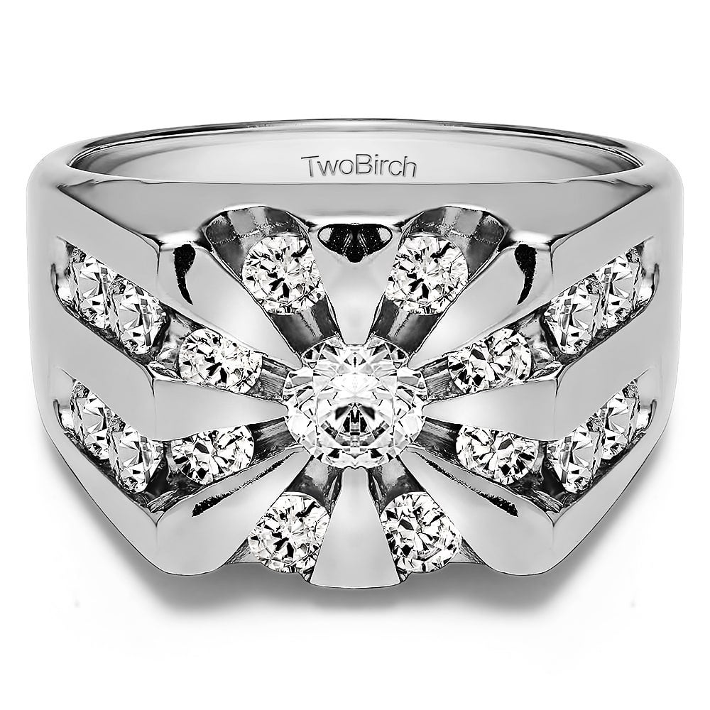 10K Wedding Ring | Twobirch 10k Gold Men S 2 1 2ct Tgw Moissanite Wedding Ring Ebay