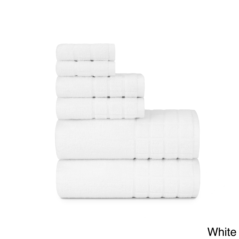 Designer Dobby Check Double 6-piece Cotton Bath Towel Set with, Bath ...