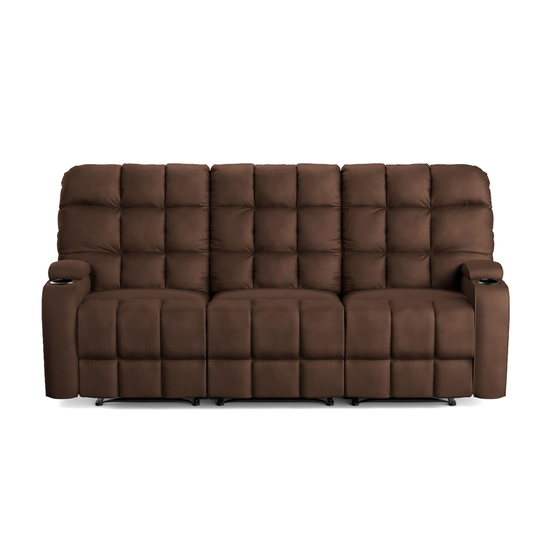 OLIVER & JAMES Saskia Brown Microfiber 3-seat Recliner Sofa ...