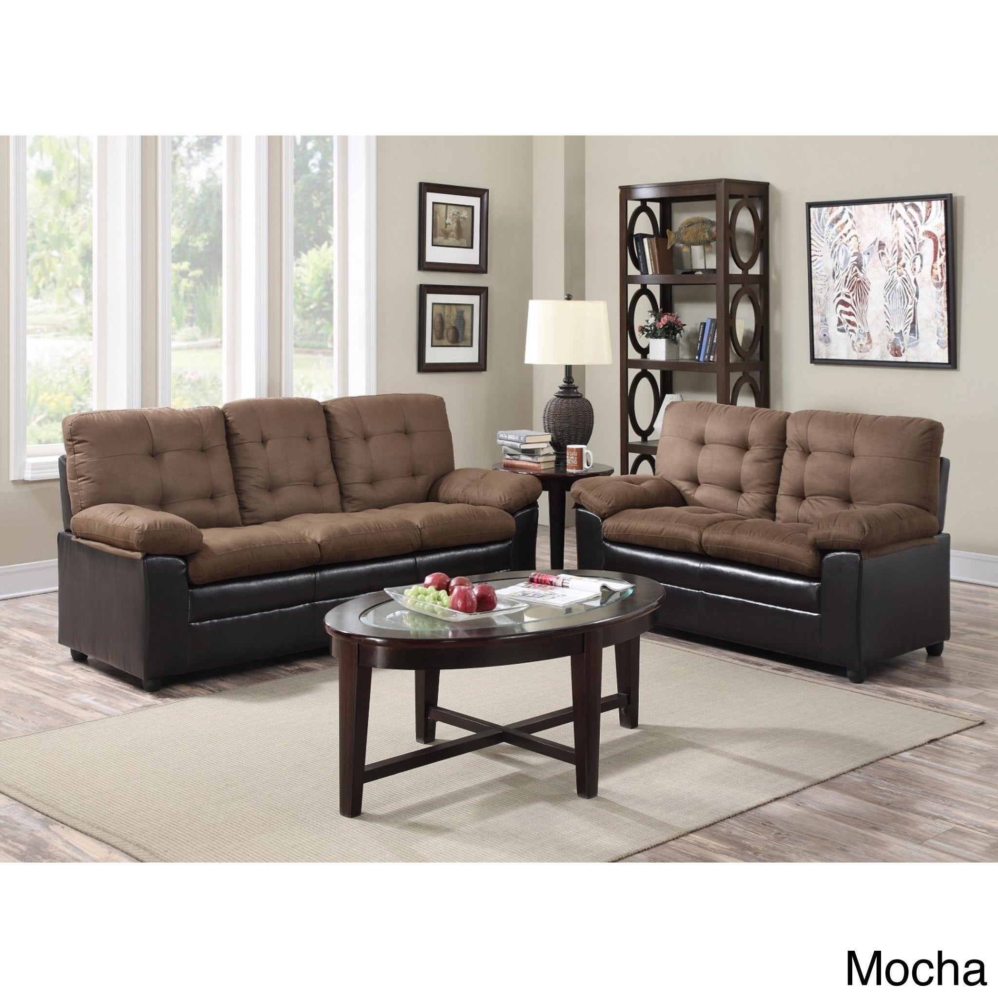 Two-Tone Microfiber Sofa And Loveseat Set