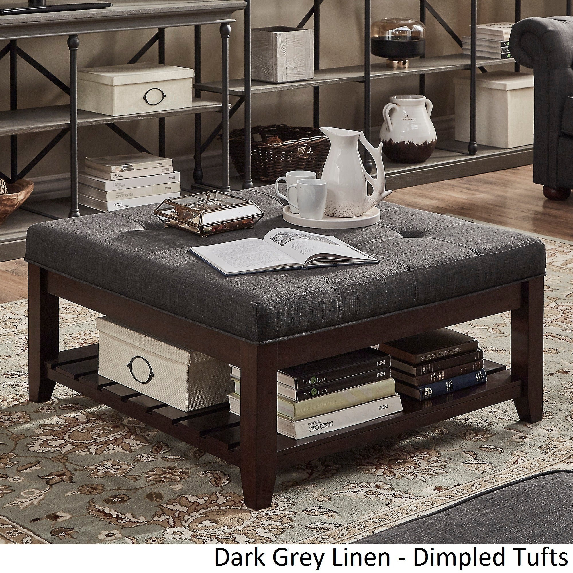 Lennon Espresso Planked Storage Ottoman Coffee Table By