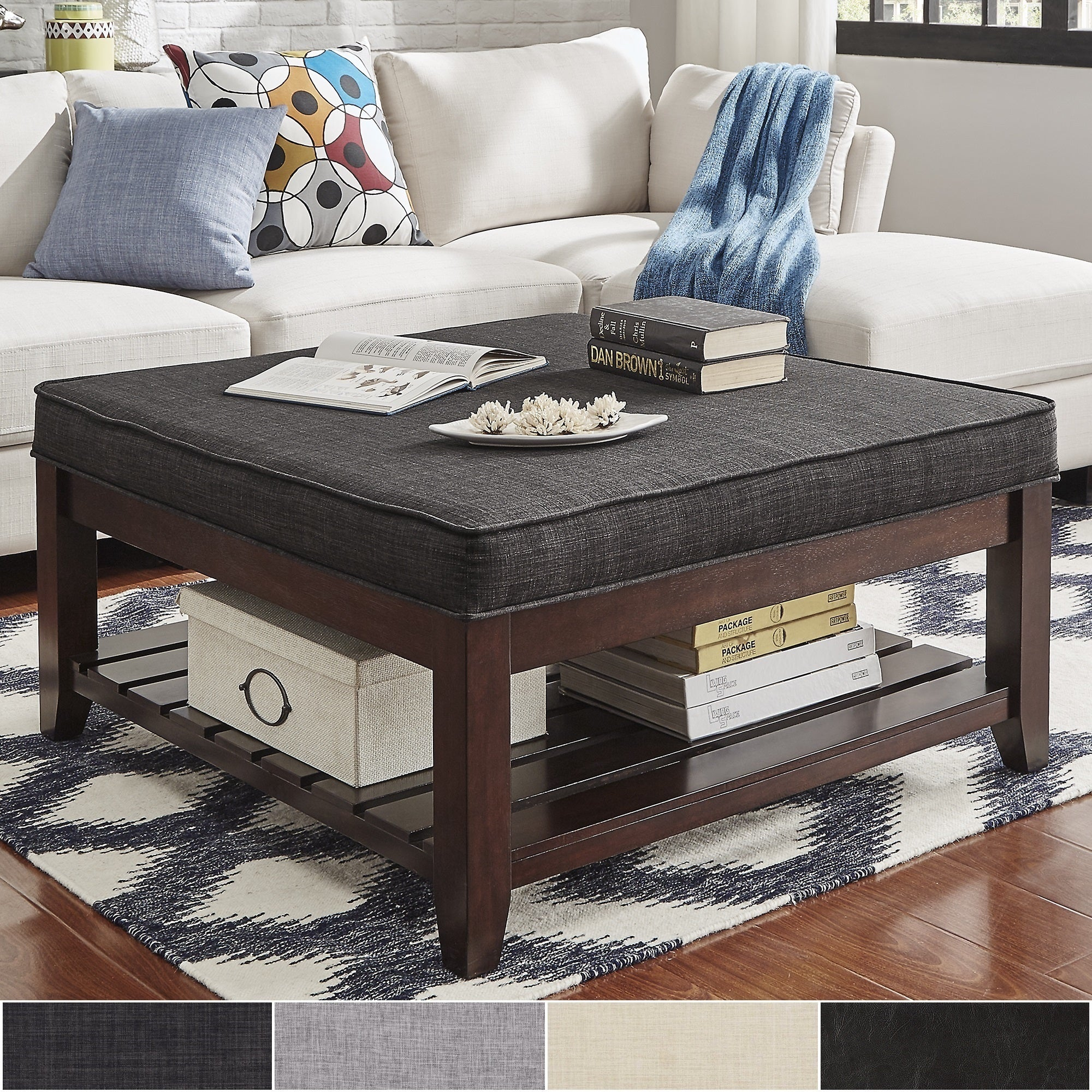 Coffee Table With Storage Ebay: Lennon Espresso Planked Storage Ottoman Coffee Table By
