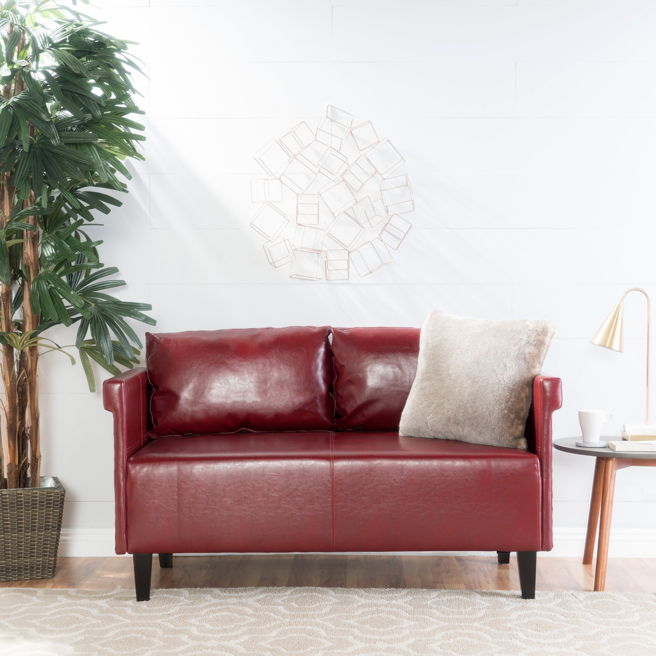 Bellerose Faux Leather Loveseat Settee Sofa By Christopher