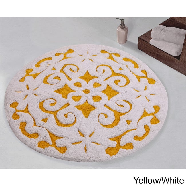 Saffron Fabs Bath Rug 100 Soft Cotton 36 Inch Round Damask Pattern