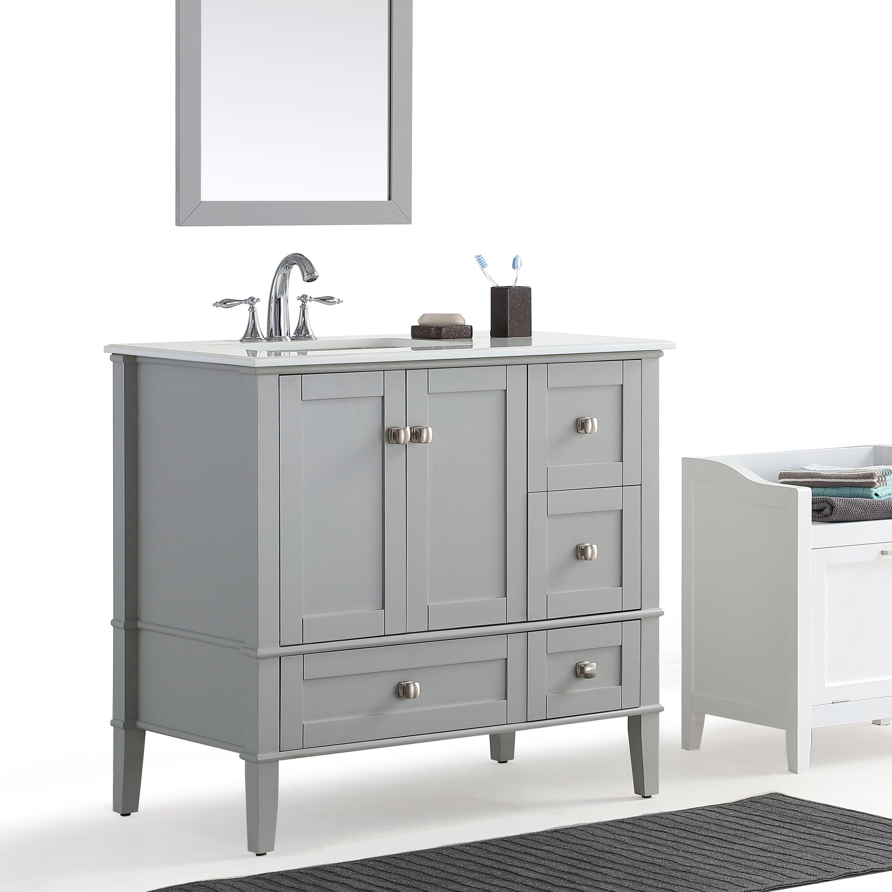 WYNDENHALL Windham Grey 36-inch Offset Bath Vanity with ...