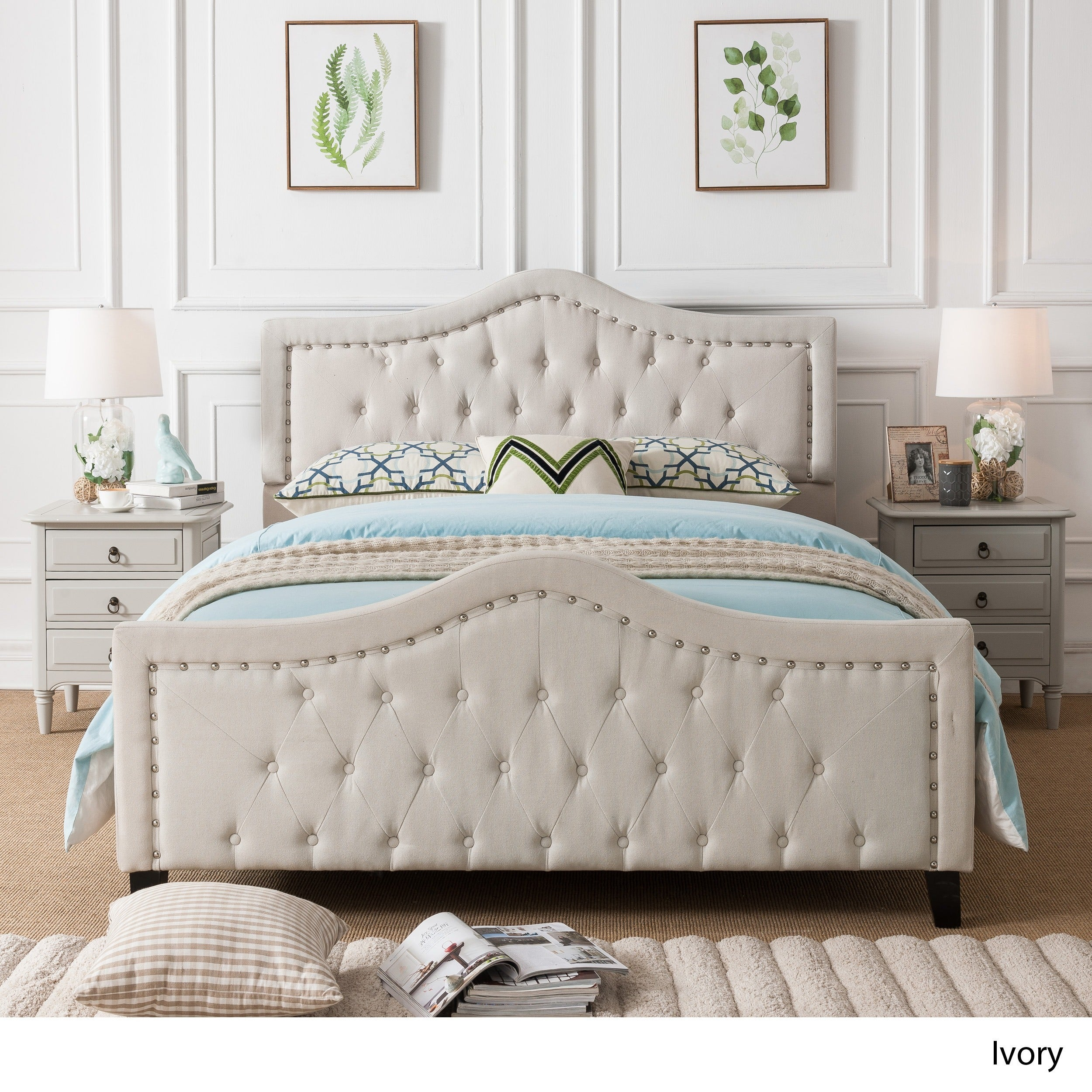Virgil Upholstered Tufted Fabric Queen Sized Bed Set by Christopher ...