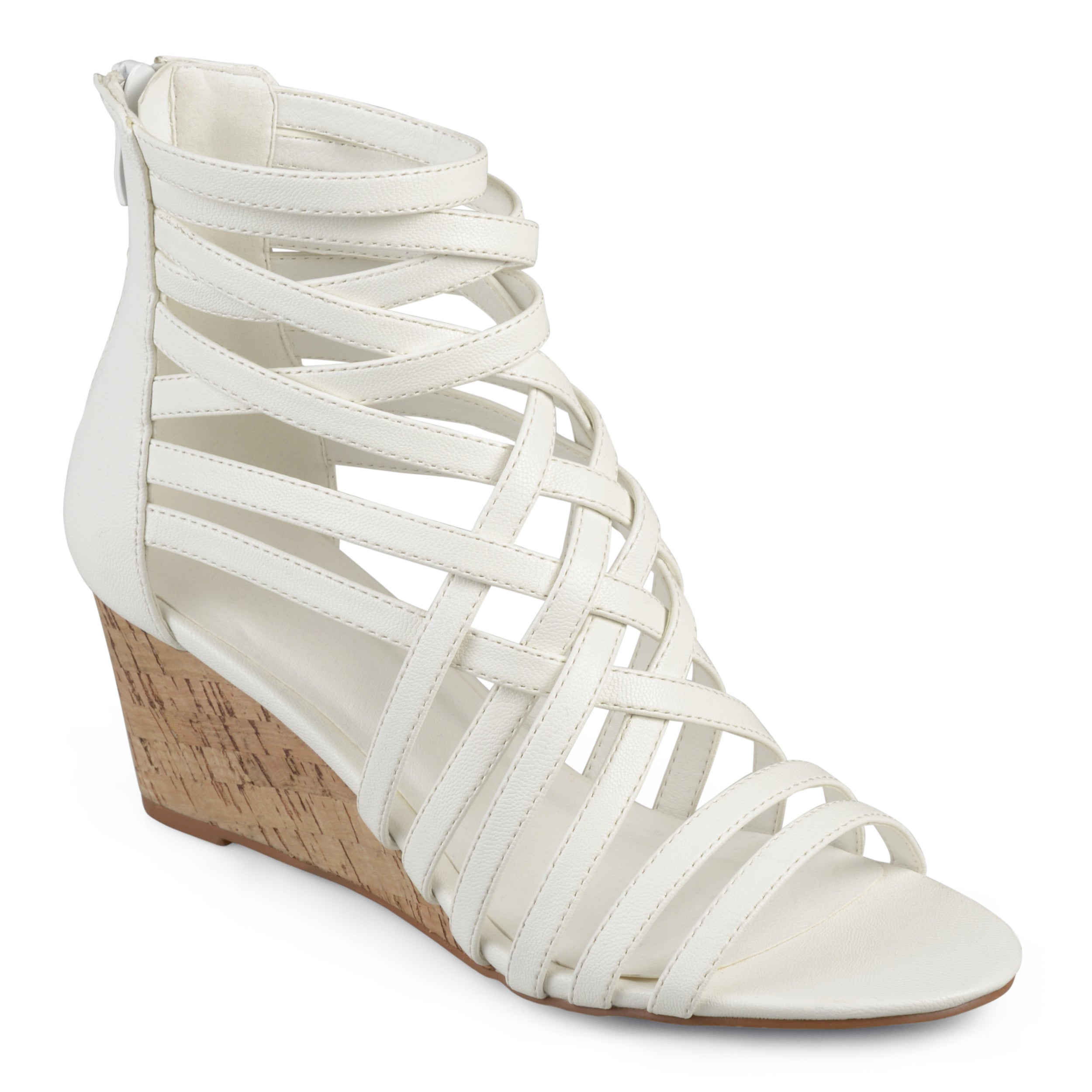 a56817c9264 JOURNEE Collection Women's Strappy Brown Faux Leather Wedges Shoes ...