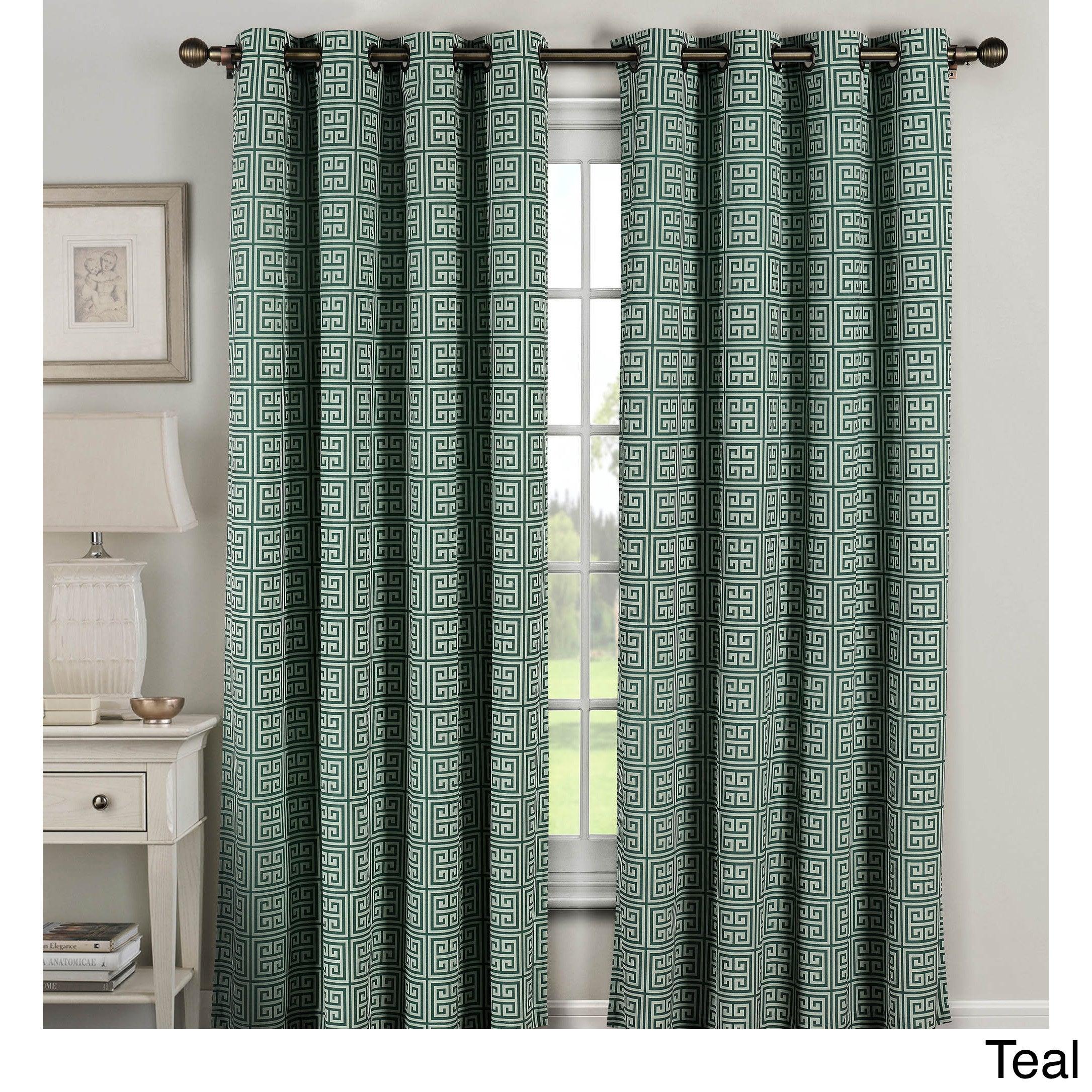 Window Elements Greek Key 96 Inch Extra Wide Grommet Curtain Panel