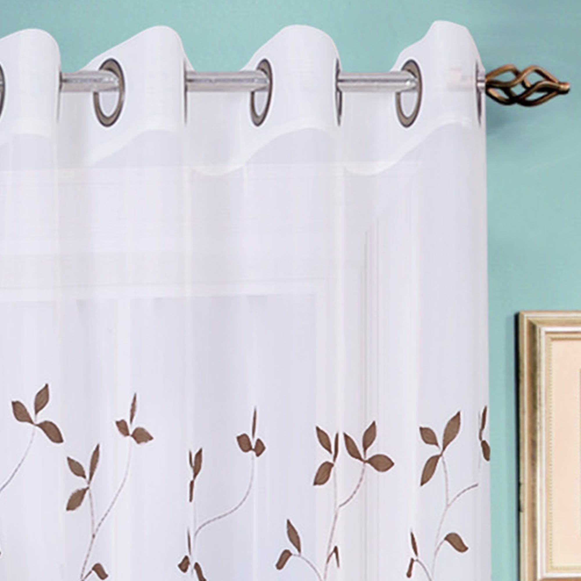 A3783 Window Elements Birch Leaf Embroidered Sheer Grommet Single