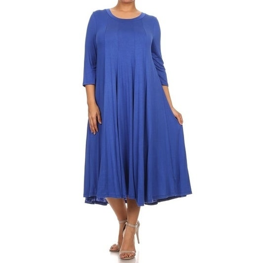 Womens Plus Size Solid Color Pleated Dress Ebay